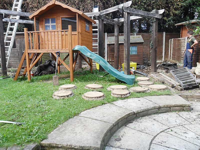 Remove all unwanted garden structures to create a child friendly garden.