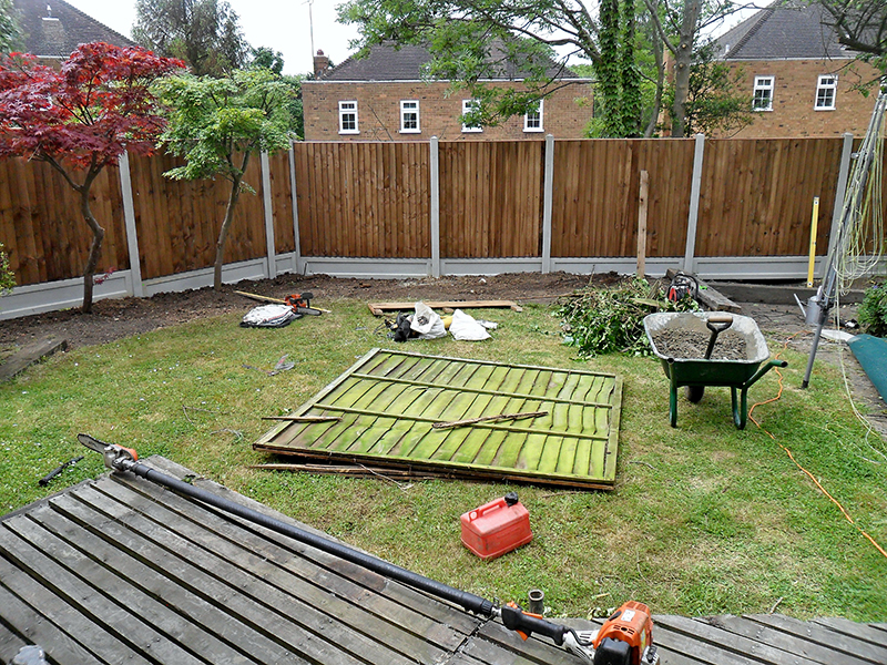 Corrected new fence, prepare for clearance of old panels and other garden waste.
