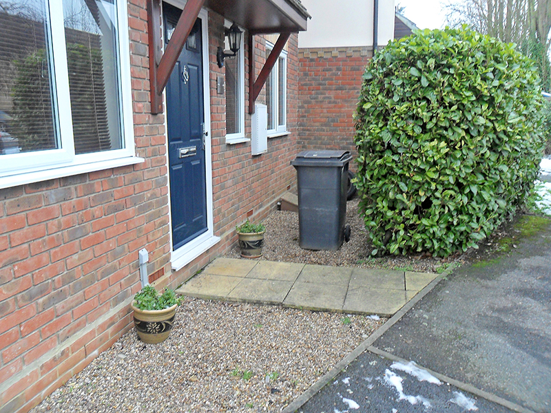 Before job, need to remove hedge, old gravel and slabs.