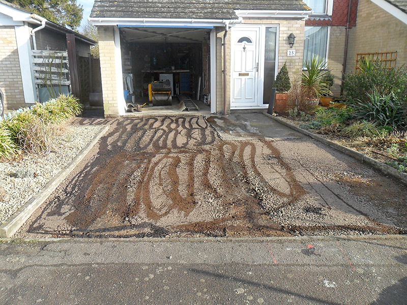 Removed old tarmac. Prepping of driveway for resurface project.