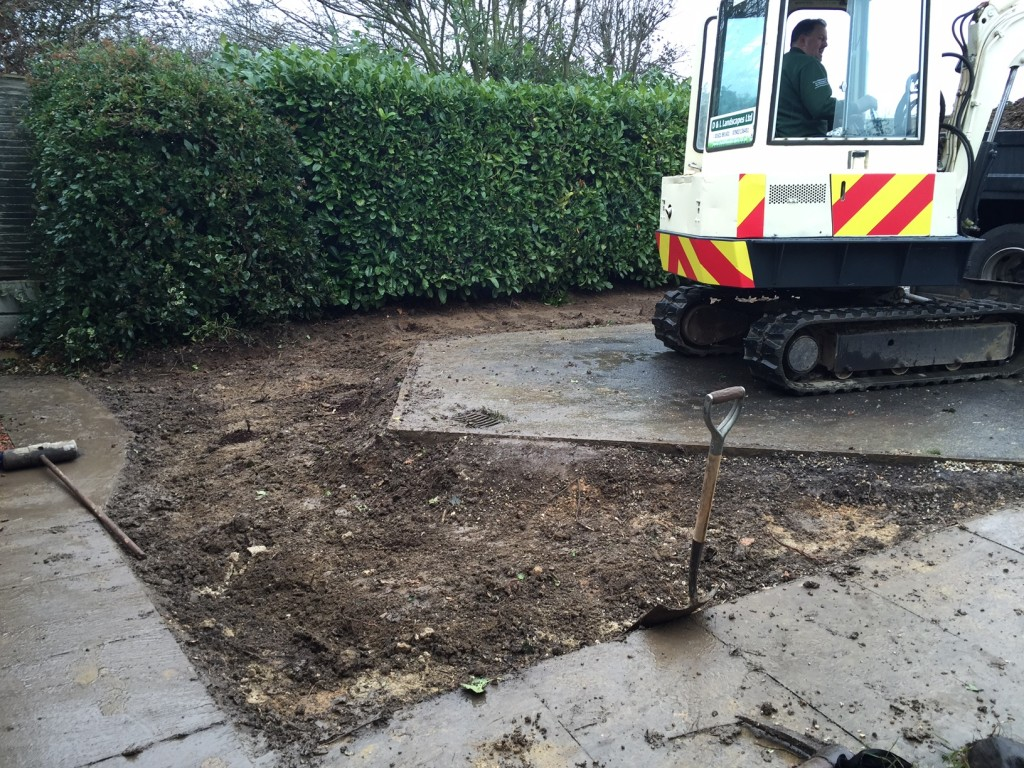 Start of excavation for landscaping