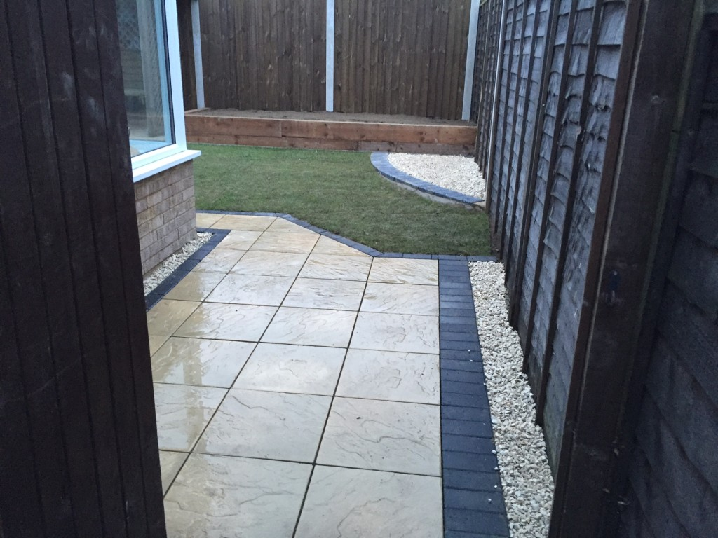 After, Paving slab pathway with Cotswold stones and garden reformation
