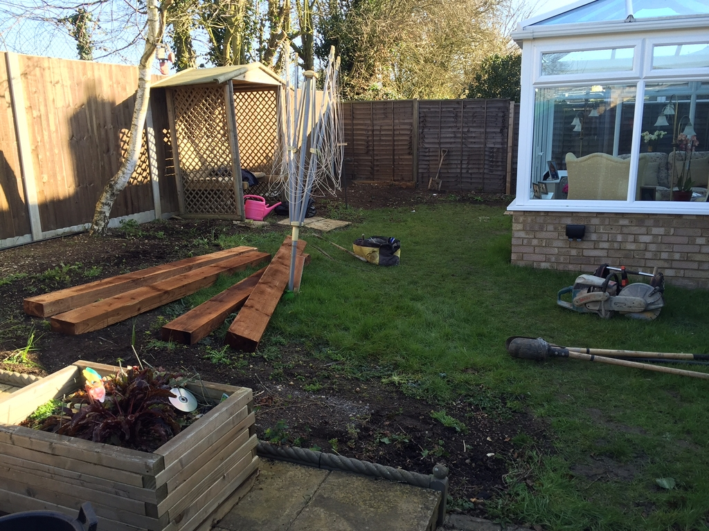 Landscaping Job With Retained Flower Beds Using Sleepers