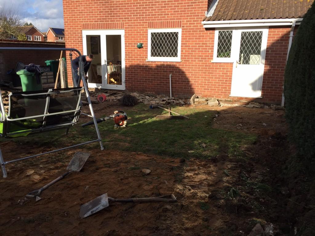 Stage 1 - Removal of old patio and lawn