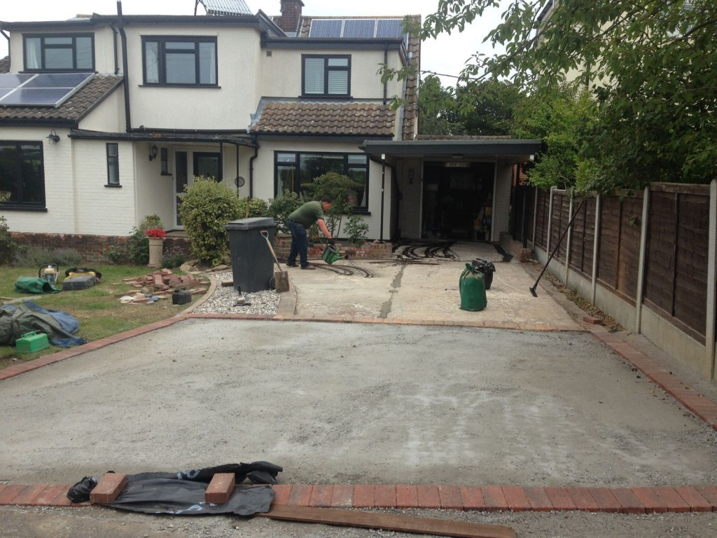 Concreted sub base with brick edging